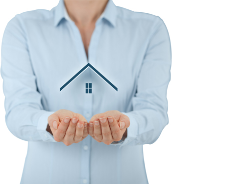 Woman holding home icon for Home Emergency Insurance